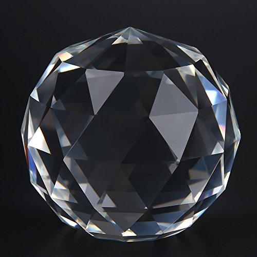 Walfront sfera arcobaleno cristallo, sfera di cristallo trasparente tagliata, 60 / 80mm sfera riflettente traslucida sfaccettata, sfera di cristallo arcobaleno da appendere decorazione(60mm/2.36in)
