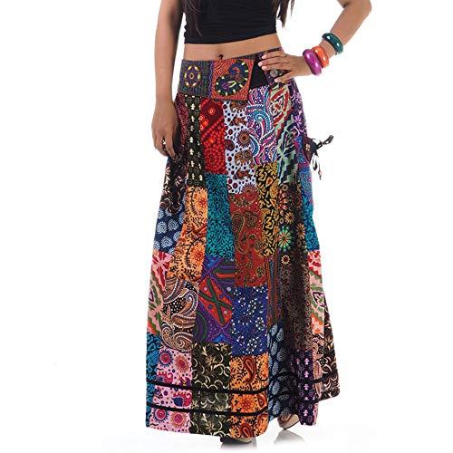 Langer Hippie Batik Patchwork Gypsy Zigeuner Rock (Gypsy Kostüm Frauen)