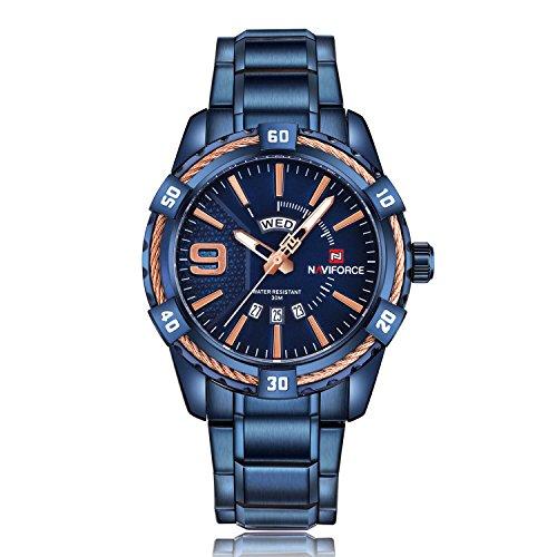 Herren 30m Wasserdicht Uhren MILITARY Edelstahl-Sport-Uhren Quarzwerk Analog Armbanduhren Box