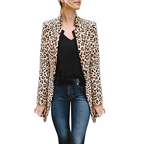 MYMYG Frauen Leopard gedruckt sexy Winter warme Wind Mantel Strickjacke Lange Strickjacke Mantel Outwear Oberteile Herbst Winter Langarmshirt