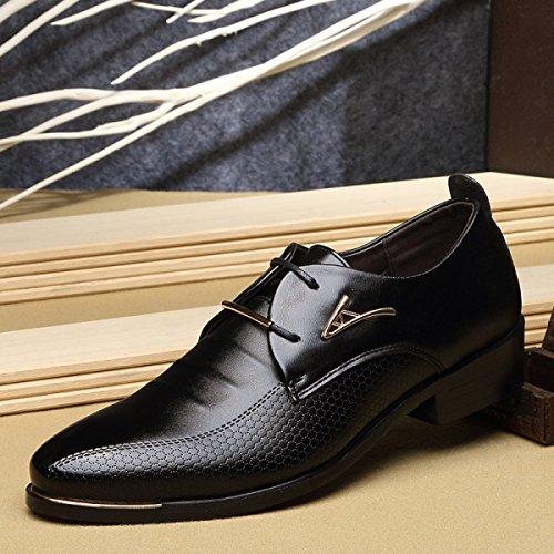 GRRONG Herren Leder Schuhe Formal Kleid Freizeit Breathable Schwarz Braun Black 40i1HW8e