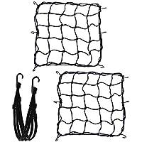 Nabance Filet à Bagages Araignée Elastique 2PCS avec Ceinture de Bagages Sangle Elastique 1PCS 40 x 40cm Filet à Bagages Araignée Elastique avec 6 Crochets pour Fixer Casque Moto Sac