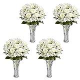 Kurtzy 4er Set aus Geprägtem Kristallklaren Mini Glasvasen für Hochzeit Mittelstück Dekoration, Blumenvasen für Wohnzimmer, Event Party Dekoration - Glasvase - Hochzeits-Geschenk und Wohndekor