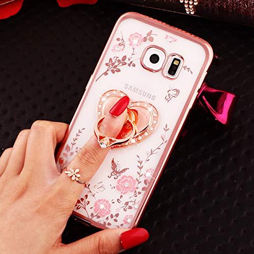 Floral Flüssigkeit (LCHULLE for Samsung Galaxy S7 Ring Hülle Funkeln Sparkly Diamantd Secret Garden Floral Butterfly Flüssigkeit Klar Bling Glänzend Strass Ringhalter Ständer Abdeckung-Rose Gold)