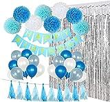 Pancarta de cumpleaños para fiesta de cumpleaños con cortinas doradas, pompones de pañuelos, papel de lunares, guirnalda de látex, globos de fiesta para niños o adultos talla única Blue Series