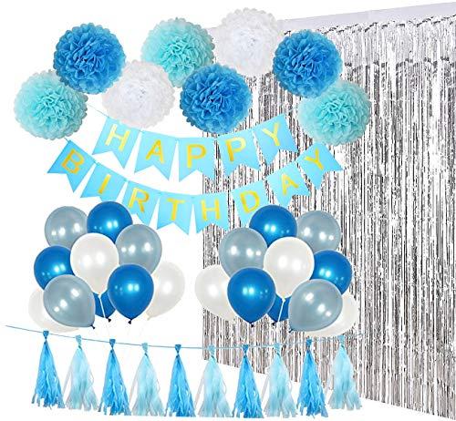 RedMaple Geburtstag Dekoration Blau - Geburtstagsfeier Deko mit Happy Birthday Banner, Silber Folie Vorhänge, Tissue Pompoms und Girlande, Latex Ballons Party Favors für Kinder oder Erwachsene