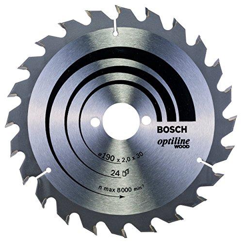 Bosch Professional Zubehör 2608641185 Kreissägeblatt Optiline Wood 190 x 30 x 2,0 mm, 24