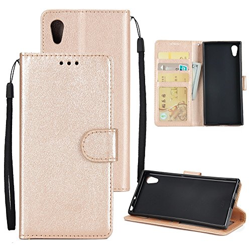 Classic Premiu PU Ledertasche, Horizontale Flip Stand Case Cover mit Cash & Card Slots & Lanyard & Soft TPU Interio Rückseite für Sony Xperia XA1 Ultra ( Color : Brown ) Gold