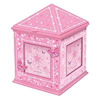 Butterfly and Stars Diamonte Musical Pink Jewellery Box