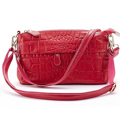 Mefly Da Donna In Pelle Croce Obliqua Bag Nuovo Tempo Libero Donne Nero Rose red