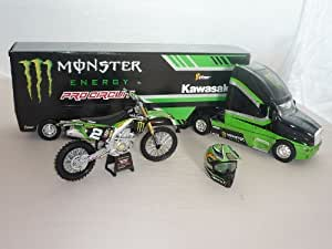 kenworth Pro-circuit Monster Kawasaki Lkw Truck + 1/6 Helm + 1/12 Kx250f 1/32 New Ray Modell Auto Modellauto