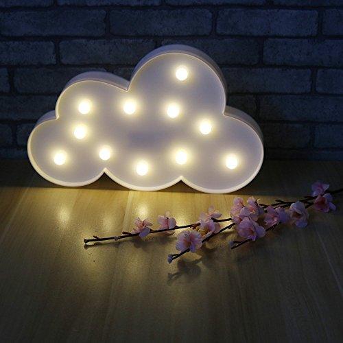 Missley Unicorn Tête LED Nuit Lampe Décorative Lumière pour Fête D'anniversaire et Cadeaux Décoration Murale (Nuage-blanc)