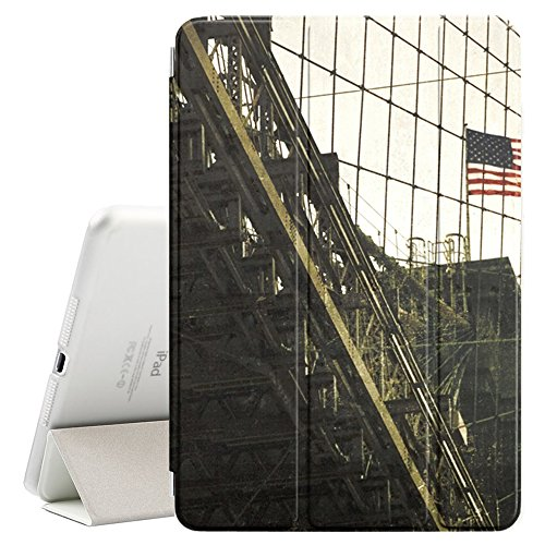 Graphic4You Brooklyn Bridge New York Postkarte Ansichtskarte Design Smart Cover Hülle Dünn Tri-Fold Schlank Superleicht Ständer Cover Schutzhülle Tasche für Apple iPad Pro 11