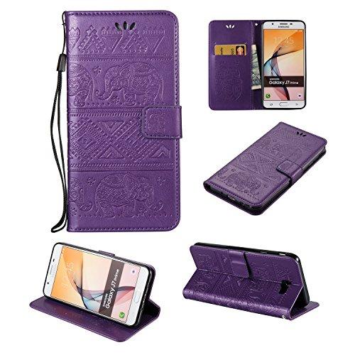 Für Samsung Galaxy J7 Prime Premium Leder Schutzhülle, weiche PU / TPU geprägte Textur Horizontale Flip Stand Case Cover mit Lanyard & Card Cash Holder ( Color : Red ) Purple