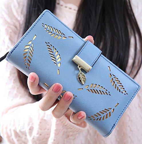 Dairyshop portafogli donna Portafoglio, Borsa della frizione della frizione cuoio del raccoglitore delle donne di modo (Rosa) Blu