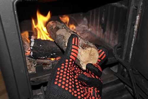 51B0H0F29FL - Premium Ofenhandschuhe aus Aramid - hitzebeständig bis 500°C - elegantes Design - Vielseitig einsetzbar - Grillhandschuhe - Kaminhandschuhe - Topfhandschuhe - Backhandschuhe (rot)