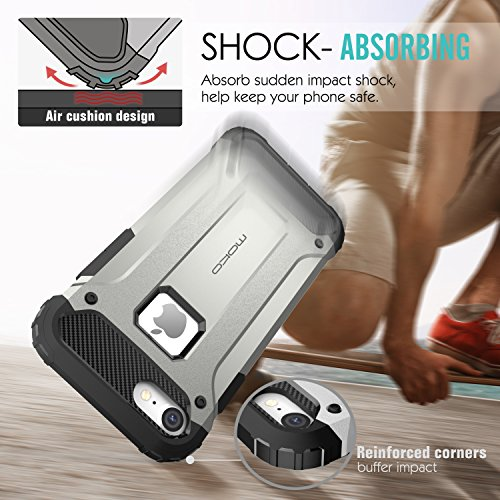 MoKo Hülle für iPhone 7 - Premium Dual Layer Ultra dünn Rüstung Case Anti-Kratz Stoßfest TPU+PC Schutzhülle Handy Tasche Bumper für Apple iPhone 7 4.7 Zoll Smartphone, Schwarz Silber Grau