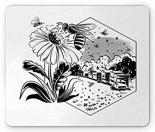Black and White Mouse Pad, Monochrome Sunflowers and Beehive in Hexagonal Frame Landscape Design, Standard Size Rectangle Non-Slip Rubber Mousepad, Black and White Set Sunflower-design
