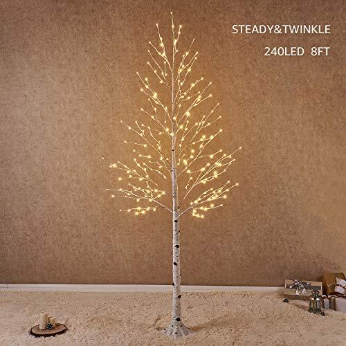 Hairui betulla 240cm 240l per la decorazione domestica albero di natale bianco con luci led bianco caldo albero artificiale illuminato con scintillio parziale caratteristica