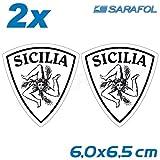 2x Sizilien Trinacria Aufkleber (Nr.063) Schwarz Transparent 6,0 x 6,5 cm Adesivo Sicilia Sticker Sicily
