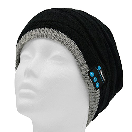 Sopear Wireless Bluetooth 3.0 Acrylic Beanie Headphone Hat Warm Winter Knit Running Skiing Exercise Sports Music Cap with Built in Handsfree Mic Earphone for Mobile Phone iPhone 7 6 6s Plus 5 5s Samsung Galaxy S5 Note 4 HTC One Christmas Gifts Schwarz Acrylic Knit Beanie Cap