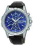 Seiko Herren-Chronograph aus Edelstahl, Solarbetrieb, mit Alarmfunktion und Datumsanzeige, Lederband gepolstert, SSC141P2