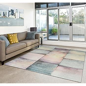 Amazon.de: Moderner Teppich Wohnzimmer Kurzflor Dream Pastell Farben ...