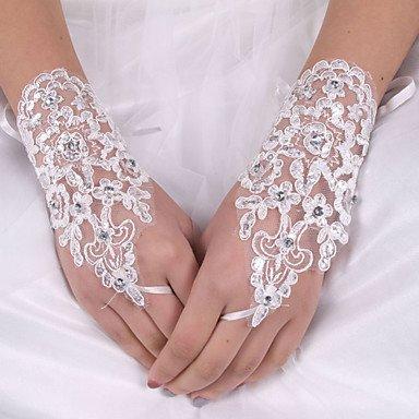 Dame einfache weiße Spitze Stretch Seide Blume Form Chiffon Fingerabdruck Handgelenk Länge Braut Hochzeit Handschuh (Stretch-spitzen Handschuhe Handgelenk)