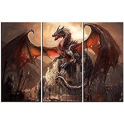 Dragones - Un Castillo Conquistado Por Un Dragón, 3 Partes Cuadro, Lienzo Montado Sobre Bastidor (120 x 80cm)
