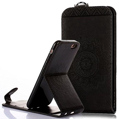 Custodia iPhone 6/6S 4.7,Ukayfe Flip Cover Case Custodia per iPhone 6/6S 4.7 in pelle PU,iPhone 6/6S 4.7 Lussuosa Astuccio Custodia Cover [PU Leather] [Shock-Absorption] Protettiva Portafoglio Cover C Nero