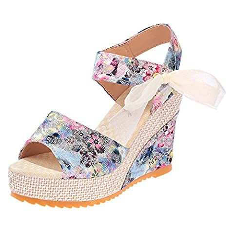 Minetom Women Fashion Fish Mouth High Heels Bow-Knot Sandals Heel Platform Wedges Flip Flop Thong Shoes with Lace Blue UK 5