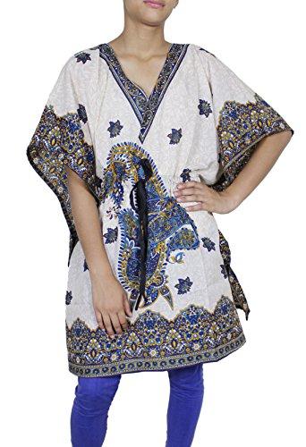 Donne rayon dalla parte superiore del breve caftano coprire abito estivo indiano tunica formato libero