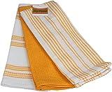 3er Pack Küchentücher, 100% Baumwolle Frottee, Waffel-Piqué, 40x60 cm Geschirrtücher, Farbe:Gelb