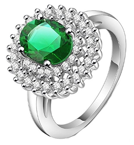 SaySure - Christmas Silver Plated Created Emerald (SIZE : 8) (Rose Gold-emerald-cut-ringe)