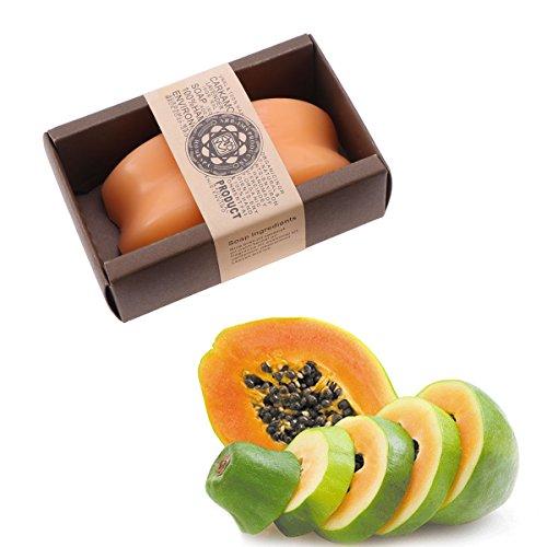 Frcolor 2 Pcs Papaye Cheveux à la main Shampooing Bar Croissance des Cheveux Savon Barre de Bain Savon Kit Exfoliant pour Visage Corps (Orange)