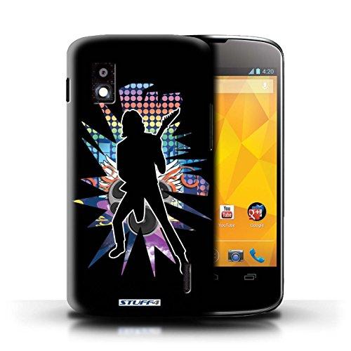 Kobalt® Imprimé Etui / Coque pour LG Nexus 4/E960 / Chanteur Noir conception / Série Rock Star Pose Solo Noir