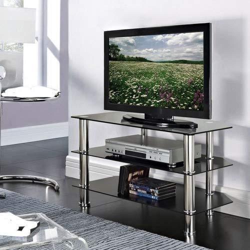 Fernsehtisch aus Glas, Schwarz von Vida Designs