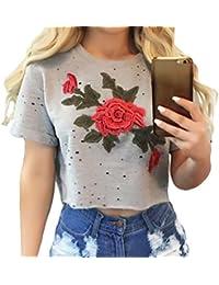 3933ac0951 Toocool Top donna maglia crop fiore rosa sexy corto maniche corte nuovo  DL-2184