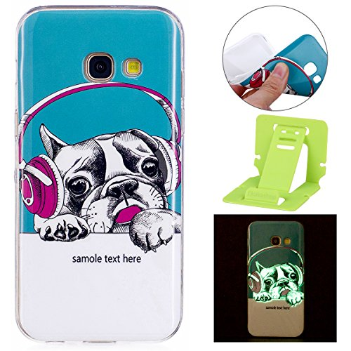Galleria fotografica Galaxy A5 2017 Silicone Cover, Custodia per Samsung A5 2017 Nottilucenti, Ekakashop Moda Nottilucenti Luminous Luce Design Creativo del Colorato Painting TPU Morbido Silicone Gomma Cover, Ultra Slim Shockproof Antiurto Back Case Cover Custodia per Samsung Galaxy A5 2017/A520 con 1x Ekakashop Kickstand (Colore casuale), Fashion Dog