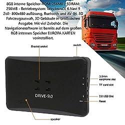 9 Zoll GPS Navi, Navigationsgerät Drive-9.0, für LKW, PKW, WOHNMOBIL mit-Brueckenhoehenwarnung und TMC Verkehrsfunkempfänger. über 50 Länder EU. Neuste Karten, Fahrspurassistent.KAPAVIZITIVEN