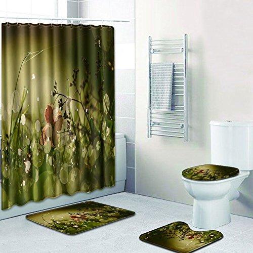 Rziioo 4 Stück Blumen Muster Bad Duschvorhang Sets, Wasserdicht Mildewproof Duschvorhang Und 3 Teppiche (Badematte + Fußmatte + WC Sitzbezug Matte),D,45*75Cm