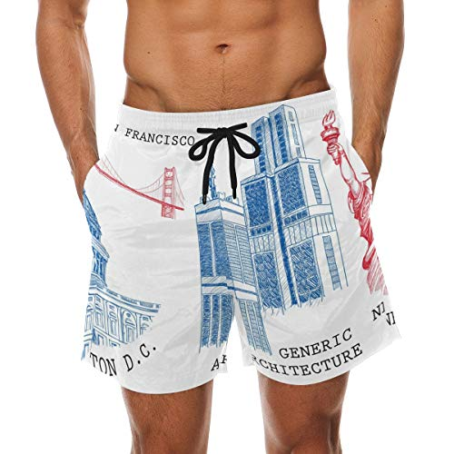 BHWYK Men's Places of Interest Beach Board Shorts Quick Dry Swim Trunkfor Summer Vacations M-XXL Code(XXL)