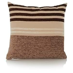 Étui design de qualité pré-Coussin garni-Chocolat-Coussin à rayures-Chenille - 40 cm X 40 cm