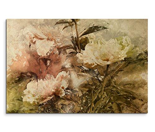 120x80cm Leinwandbild auf Keilrahmen Gemälde Wasserfarben Blumen grunge vintage Wandbild auf...
