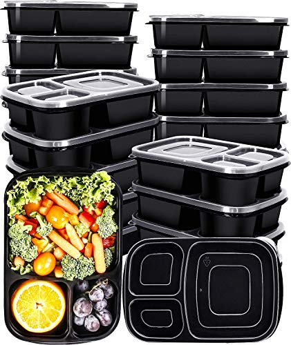 Utopia Kitchen [20er Pack 3-Fach Meal Prep Container - Frischhaltedosen Bento-Box Set mit Deckel - BPA-frei Frishchalteboxen [1L] Bento-box-set