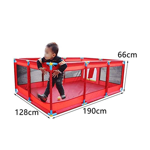 Red Playpen -baby Shooting Fence, Toddler Twins Safety Game Playard, Children Security Fence with Basketball Hoop (Size : Playpen+mat+200ball) Playpens  2