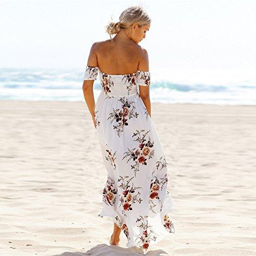 ACVIP Damen Sommer Casual Ein Wort Schulter Lang Kleid Trägerlos Strandkleider Dress Weiß