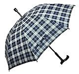 Regenschirm Stützschirm Gehstock Gehhilfe mit Fritzgriff & Gummipuffer karo blau weiß