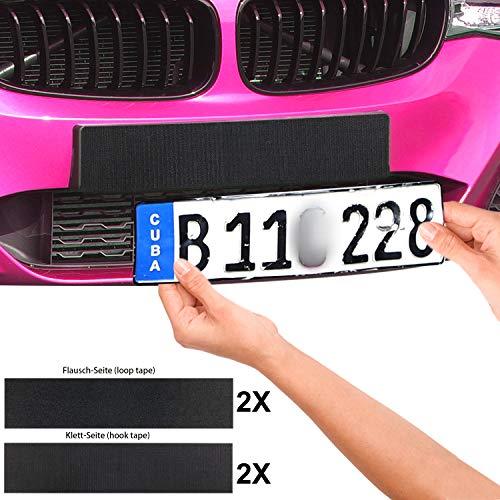4x Kennzeichenhalter Auto rahmenlos, Nummernschildhalterung Autokennzeichen Halterung für alle gängigen KFZ, selbstklebendes Klettband 50 x 10cm MEHRWEG