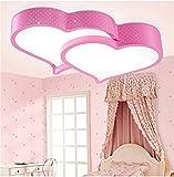BRIGHTLLT Kinder LED Deckenleuchte Lampe warm romantischen Schlafzimmer Studie Ehe Zimmer Rosa zwei Herzen - Eisen Lampen und Fernbedienung 520 * 420 mm